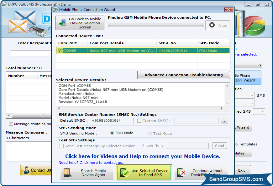 Bulk SMS Software: Send text messages from PC using mobile