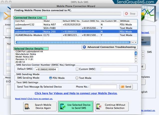 Mac Bulk SMS Software for Multi GSM mobile2