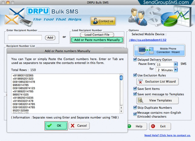 Mac Bulk SMS Software for Multi GSM mobile3