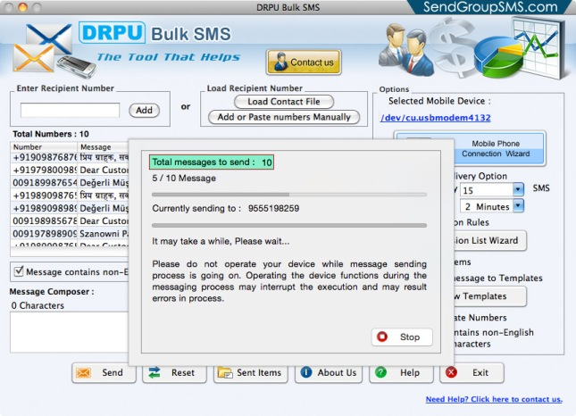 Mac Bulk SMS Software for Multi GSM mobile5