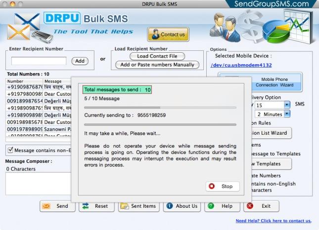 Mac Bulk SMS Software for Multi GSM mobile5